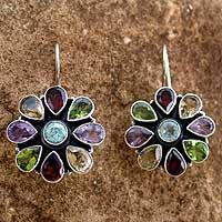 Amethyst and garnet flower earrings,