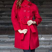 100% alpaca reversible coat, 'Bicolor Chic' - Reversible Alpaca Coat in Red and Black from Peru