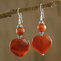 Carnelian heart earrings, Loves Warmth