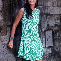Cotton sundress, 'Balinese Paradise' - Sleeveless Cotton Sundress