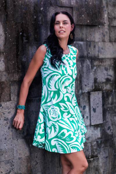 Cotton sundress, 'Balinese Paradise' - Sleeveless Cotton Sundress with Floral Motifs from Bali
