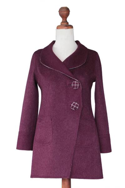 100% alpaca reversible coat, 'Silver Plum' - Reversible Baby Alpaca Coat with Pockets