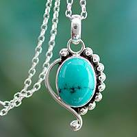 Turquoise pendant necklace, 'Indian Paisley' - Turquoise Jewelry Indian Sterling Silver Necklace