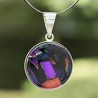Dichroic art glass pendant necklace,