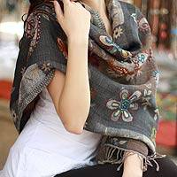 Wool shawl, 'Modern Lady' - Grey Floral and Paisley Wool Shawl from India