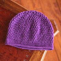 Alpaca blend hat, 'Purple Devotion' - Alpaca blend hat