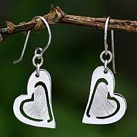 Sterling silver heart earrings, 'Love's Message' (Peru)