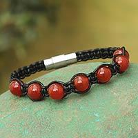 Carnelian and leather Shambhala-style bracelet,