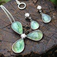Opal jewelry set, 'Mystic Clover' - Andean Opal Necklace and Earrings Jewelry Set