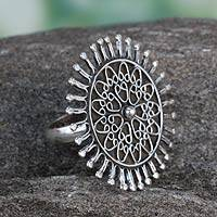 Sterling silver cocktail ring, 'India Sunflower' - Sterling silver cocktail ring