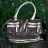 Leather handbag, 'Functional Chic' - Leather handbag