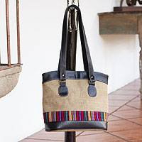 Jute shoulder bag, 'Salvadoran Rainbow' - Elegant Jute Shoulder Bag with Cotton Trim