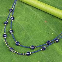 Gold accent lapis lazuli beaded necklace,