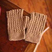 100% alpaca fingerless gloves,