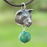 Men's turquoise pendant necklace, 'Brave Jaguar' - Men's Silver and Natural Turquoise Cat Necklace on Leather