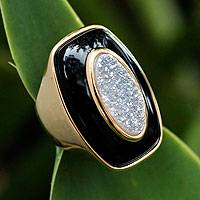 Brazilian onyx and drusy agate cocktail ring, 'Moon Goddess' - Modern Gold Plated Cocktail Onyx Druzy Ring