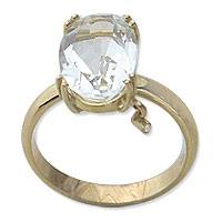 Gold and quartz solitaire ring, 'Swing' - 18k Gold and Clear Quartz Solitaire Ring