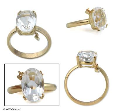 silver band ring womens khaki - 18k Gold and Clear Quartz Solitaire Ring