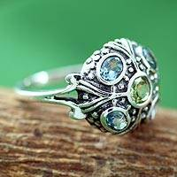 Blue topaz and peridot cocktail ring, 'Enthralling Jaipur' - Blue Topaz and Peridot Indian Sterling Silver Ring