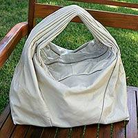 Leather shoulder bag, 'Ivory Chic' - Hand Crafted Leather Hobo Handbag