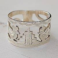 Sterling silver band ring, 'Quetzales of Tikal' - Unique Sterling Silver Bird Band Ring