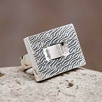 Sterling silver cocktail ring, 'Modern River' - Square Textured Silver Handmade Cocktail Ring