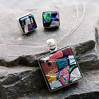 Dichroic glass jewelry set,