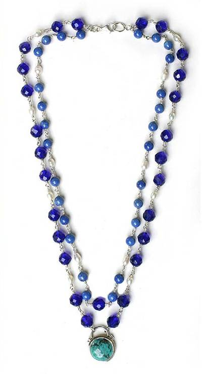 Lapis Lazuli Sterling Silver Pendant Necklace, 'Ocean Moods'
