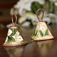 Copper bells, 'Enchanted Whispers' (pair) - Copper bells (Pair)