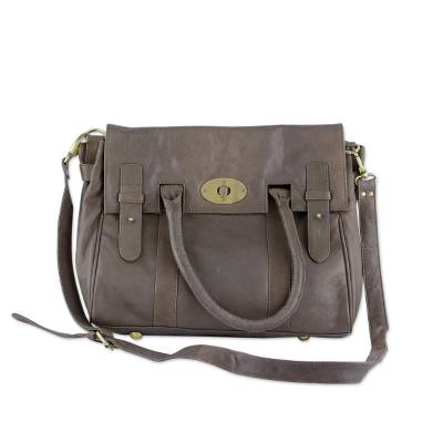 Leather shoulder bag, 'Kanpur Excellence' - Brown Leather Shoulder Bag Lined with Removable Strap