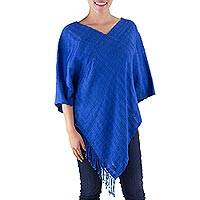 Cotton poncho, 'Organic Sea' - Organic Dyes Handwoven Dark Blue Cotton Poncho
