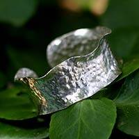 Sterling silver cuff bracelet, 'Floral' - Hand Crafted Modern Sterling Silver Cuff Bracelet