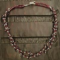 Garnet beaded necklace,