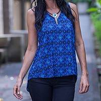 Top, 'Blue Shadows' - Fair Trade Rayon Top from Indonesia