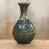 Celadon ceramic vase, 'Glamorous Celebration' - Hand Made Celadon Ceramic Vase from Thailand