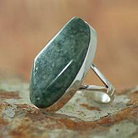 Jade cocktail ring, 'Light Green Maya Mystique' - Handcrafted Sterling Silver Jade Cocktail Ring