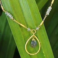 Gold plated labradorite pendant necklace, 'Winter Breeze' - Women's Gold Plated Labradorite Pendant Necklace