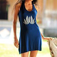 Jersey dress, 'Lotus Yoga in Navy Blue' - Artisan Crafted Floral Dress