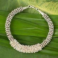 Silver beaded bracelet, 'Hill Tribe Beauty' - Silver beaded bracelet