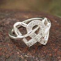 Sterling silver cocktail ring, 'Hearts in Love' - Sterling silver cocktail ring