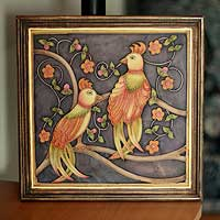 Marble dust relief panel, 'Cockatoo Courtship' - Framed Marble Dust Folk Art Painting