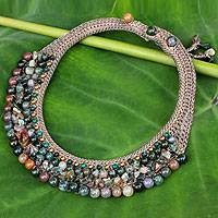 Jasper and serpentine choker,