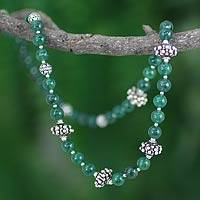 Aventurine strand necklace, 'Fortunes' - Aventurine and Silver Beaded Strand Necklace