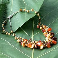 Pearl and carnelian cluster necklace, 'Hot Tropics' (Thailand)