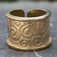 Gold plated wrap ring, 'Lovely' - Handcrafted 24 Karat Gold Plated Wrap Ring Mexico