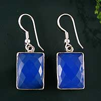 Chalcedony dangle earrings, 'Ever Blue' - Chalcedony and Sterling Silver Dangle Earrings