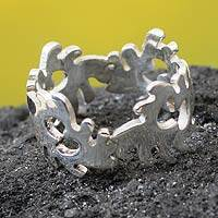 Sterling silver band ring, 'Harmony and Unity' - Handcrafted Sterling Silver Band Ring