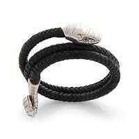 Men's leather wrap bracelet, 'Be Bold' - Unique Men's Leather and Silver Snake Bracelet