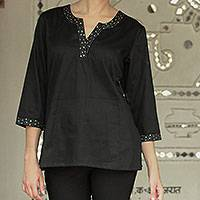 Cotton tunic, 'Midnight Glow' - Black Cotton Tunic with Silver Details