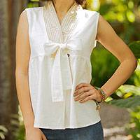 Cotton blouse, 'Relax in White' - Unique Thai Cotton Blouse Sleeveless Top